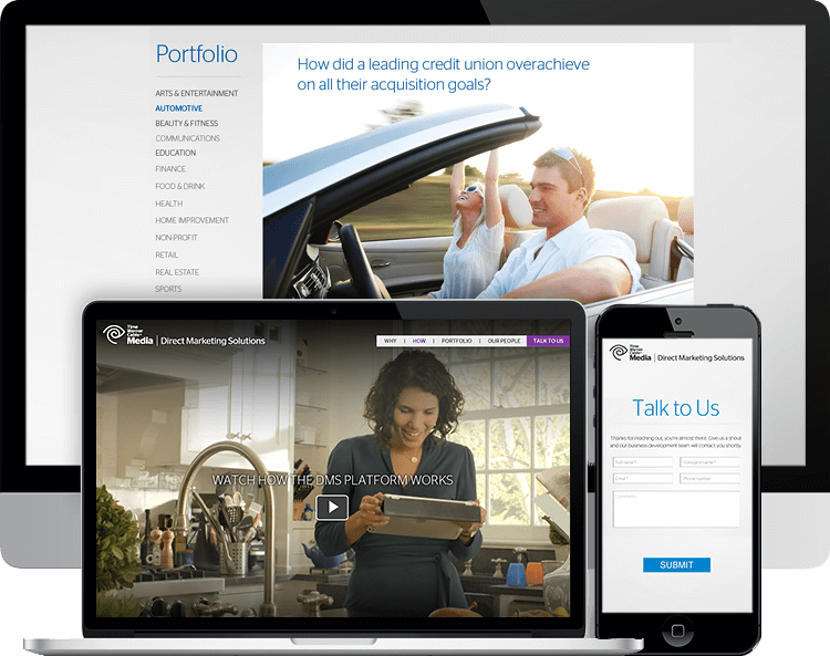 Time Warner Cable-Direct Marketing Solutions parallax website B2B video woman in ipad couple in car talk to us