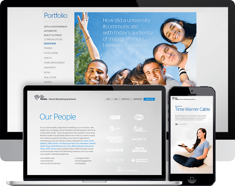 Time Warner Cable-Direct Marketing Solutions parallax website B2B time warner cable teenagers woman remote control